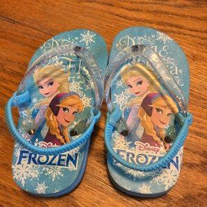 Disney Frozen Anna and Elsa Flip Flops Size 7/8